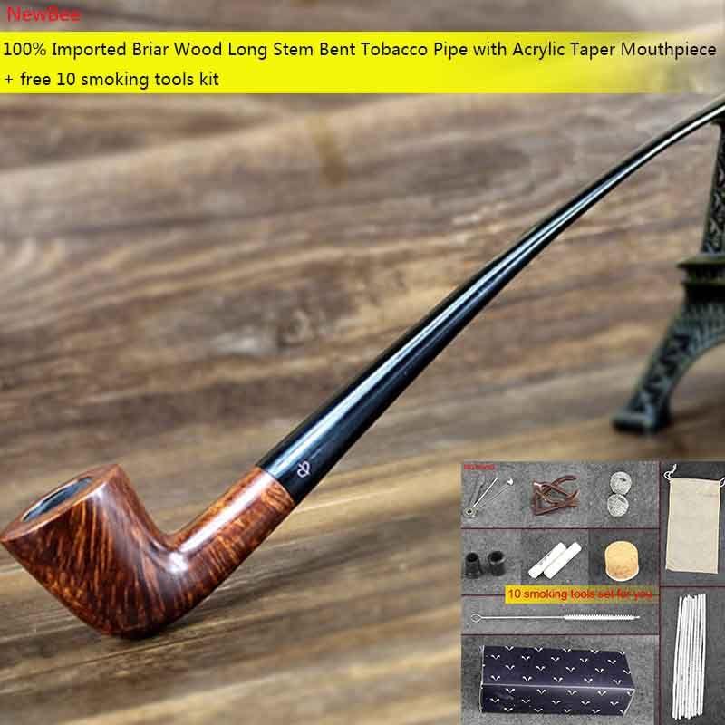 NewBee Livraison 10 Outils Fumeurs Kit Longue Tige Importé Bruyère bois 9mm Filtre Bent Pipe de Tabac pour La Lecture Masculin Cadeau aa0027