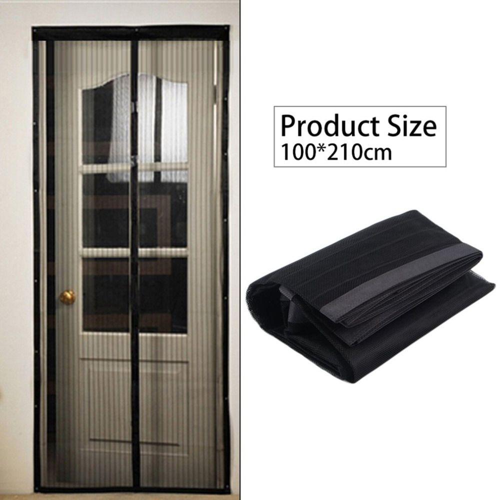 OUTAD Schwarz Sommer 100X210 cm Magnetische Moskitonetz Anti-moskitonetz Vorhänge Tür Tüll Fenster-bildschirm Automatische schließen
