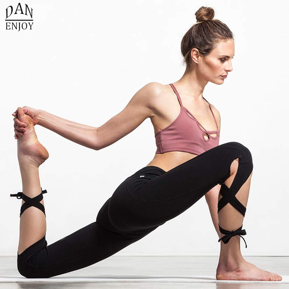 DANENJOY Women Ballerina Yoga Pants Sport Leggings High Waist Fitness Cross Yoga Ballet Dance Tight Bandage Cropped Pants Sports