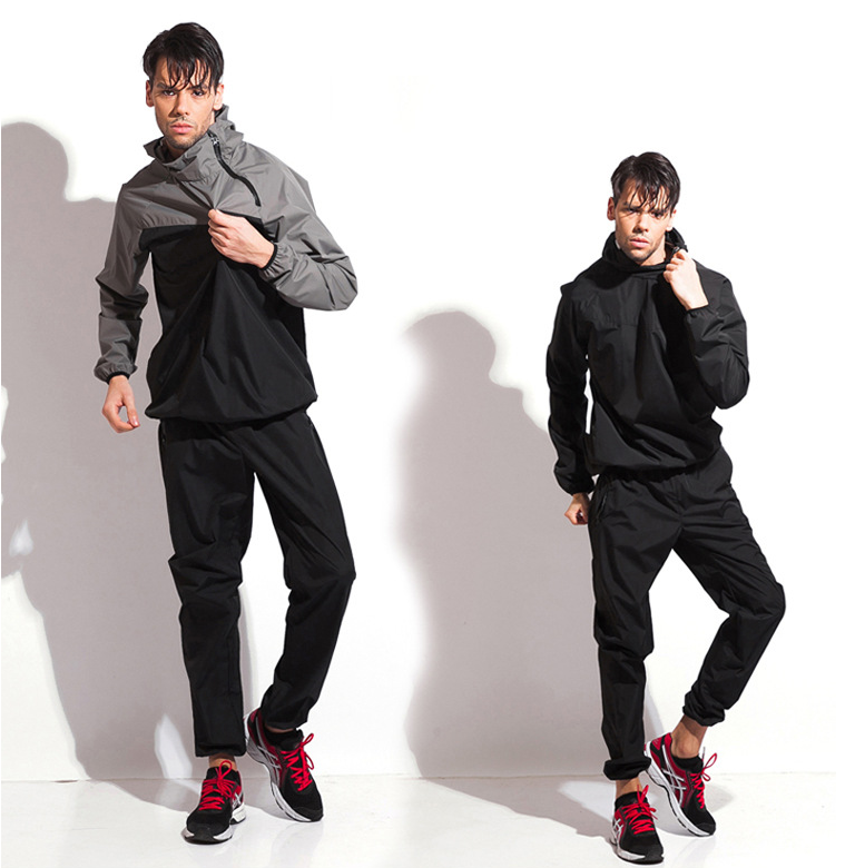 High Quality Sweat Lose Weight Fitness Running Jogging Sauna Suit Men PVC Sport Tops+Pants Set Sweating Suits for Workouts