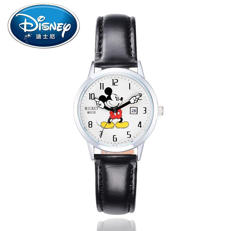 Disney дети смотрят дети Часы кожа Для женщин Дамы Повседневные часы модные женские Микки Подлинная Марка Повседневное подарочная коробка