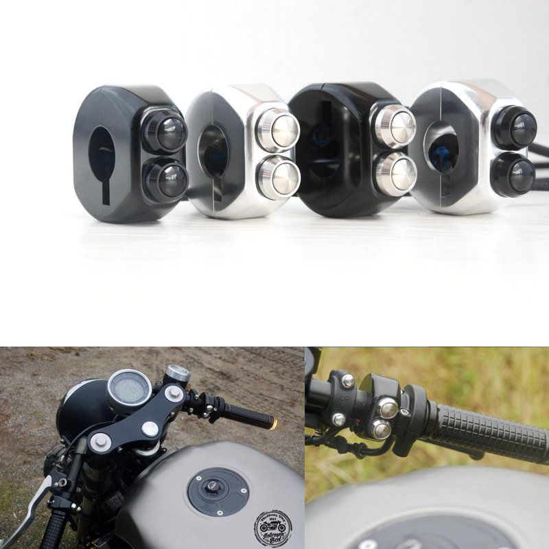 CNC Momentary Latching Switch Aluminium Alloy Switch Motorcycle Cafe Race Handle Grips Reset Buttons For Honda Yamaha Suzuki