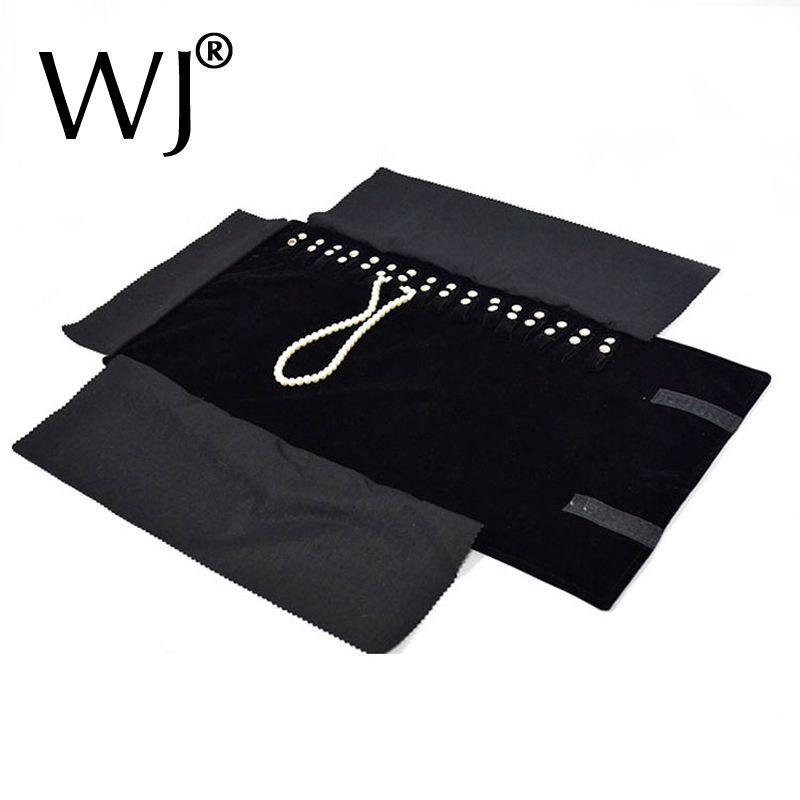 Noir velours organisateur bijoux affichage rouleaux voyage stockage Portable sac pliant pour pendentif collier chaîne support étui