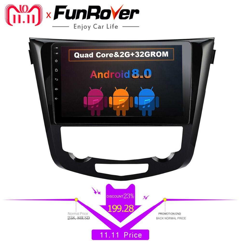 Funrover 8 cores Car dvd GPS Radio Player for Nissan X-Trail Qashqai 2014-2017 Auto Stereo Multimedia RDS headunit navigation fm