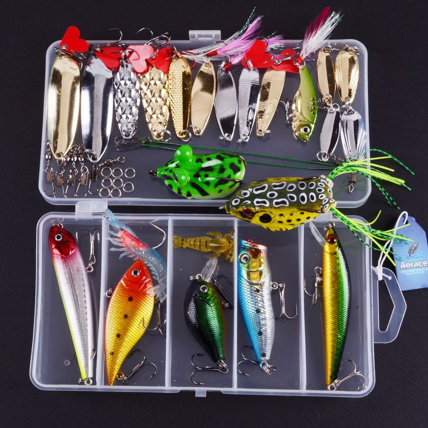 38pcs Fishing Lure Kit Mixed Metal Lure Soft Bait Plastic Lures Frog Lure Wobbler With Retail Box Assorted Fishing Bait Kit Isca