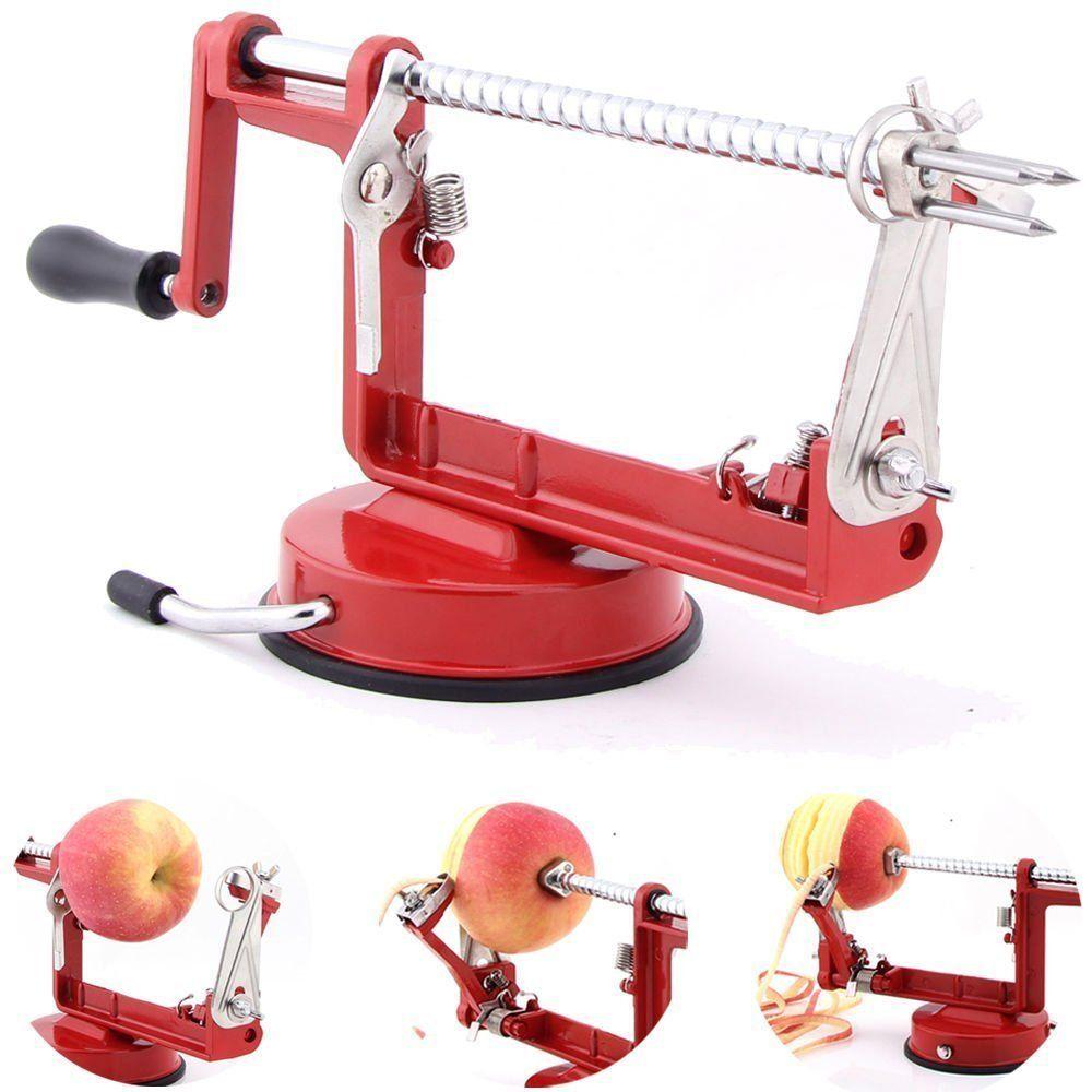 Fruits Éplucheur de Pomme Slinky Machine Coupe-Pomme De Terre Outil De Cuisine 3 en 1 (rouge) (00153)
