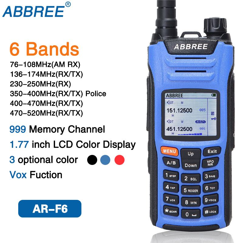 ABBREE AR-F6 6 Bands Dual Display Dual Standby 999CH Multi-functional VOX DTMF SOS LCD Color Display Walkie Talkie CB Ham Radio