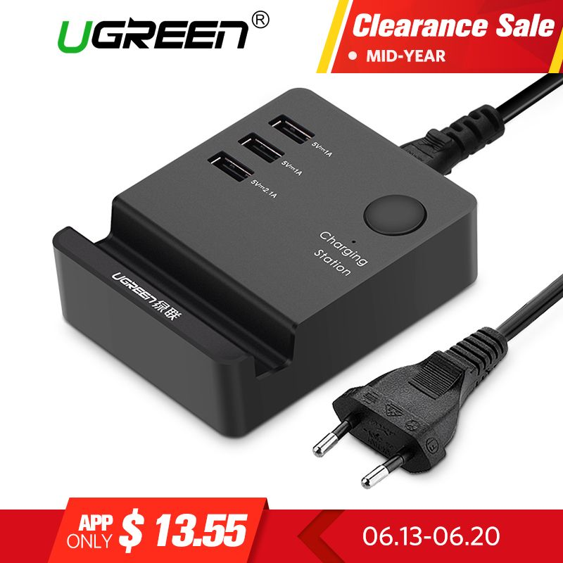 Ugreen 3 <font><b>Ports</b></font> phone charger Desktop USB Charger Portable Tarvel EU Plug Wall Charger Adapter for iPhone 6 Mobile laptop Charger