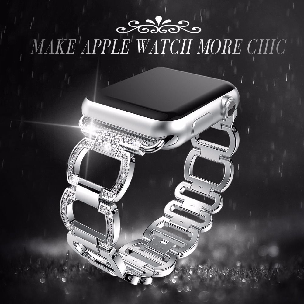 Stainless Steel Strap For Apple Watch <font><b>Band</b></font> Rhinestone Diamond 38mm/42mm Smart Watch Metal <font><b>Band</b></font> for iWatch Series 3 2 1