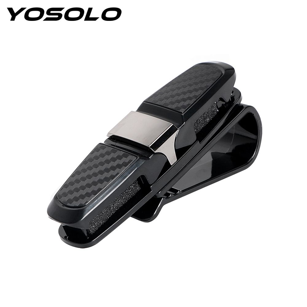YOSOLO Eyeglasses Clip Ticket Card Clamp ABS Black Car Glasses Cases Portable Car Sun Visor Sunglasses Holder Fastener Cip