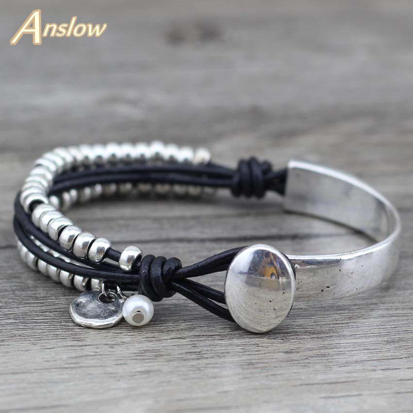 Anslow 2017 nuevas llegadas moda plata único Cuentas Strand brazalete pulsera brazalete mujeres Navidad regalo del día de madre low0478lb
