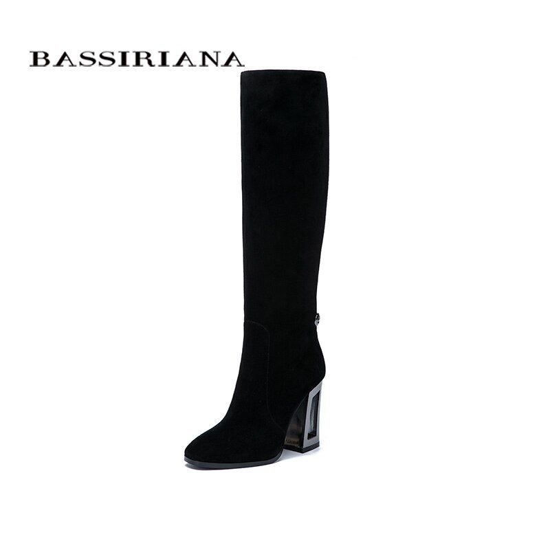 BASSIRIANA New 2017 Genuine leather high boots high heels shoes woman black suede beige leather Spring/Autumn zipper 35-40 size
