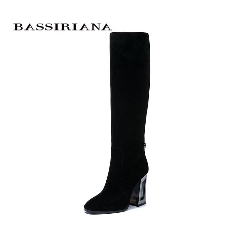 BASSIRIANA New Genuine leather high boots high heels shoes woman black suede beige leather Spring/Autumn zipper 35-40 size