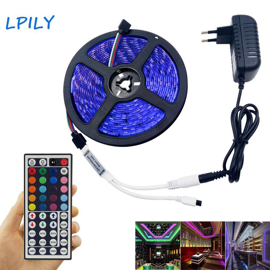 LPILY 4M 5M RGB Led Strip 5050 SMD Waterproof 30 LED/M DC12V LED Light 44 Keys Remote Controller RGB led tape RGB led ribbon