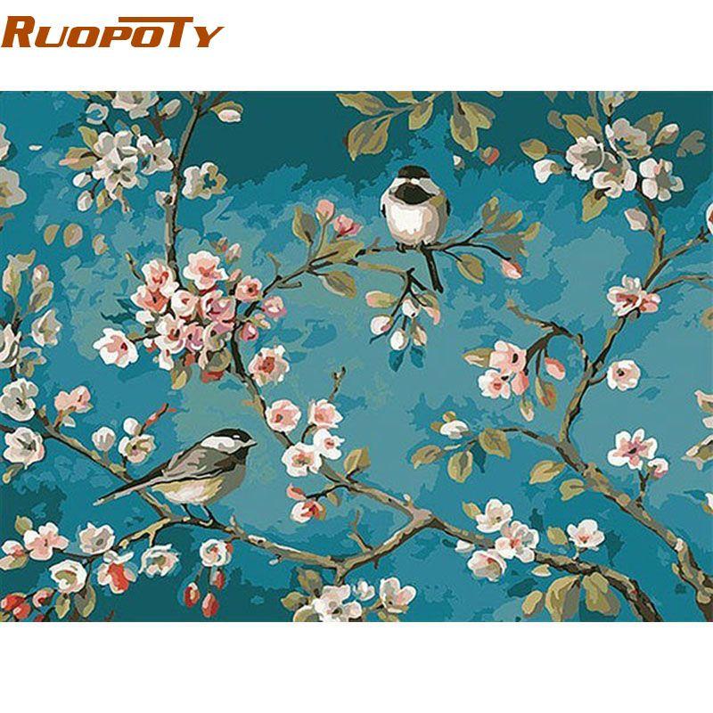 RUOPOTY oiseaux et fleur peinture à la main par numéros Kits dessin sur toile maison mur Art décor peint à la main peinture pour œuvre d'art