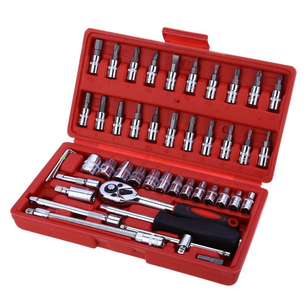 46pcs 1/4-Inch Socket Set Car Repair Tool Ratchet Set Torque Wrench Combination Bit a set of keys Chrome Vanadium