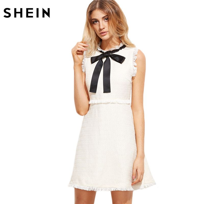 SHEIN Women Autumn Dresses Ladies <font><b>White</b></font> Party Dresses Bow Tie Neck Sleeveless Elegant Frayed Trim Tweed Dress