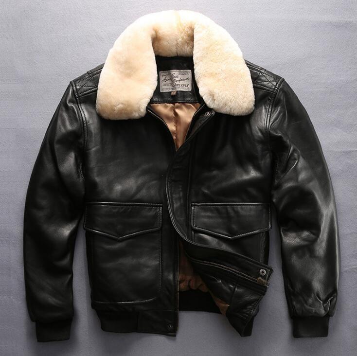 Fly flight renaissance steampunk bomber jacket sheepskin slim fur cloting pilot leather jacket mens male mortorcycle boys blazer