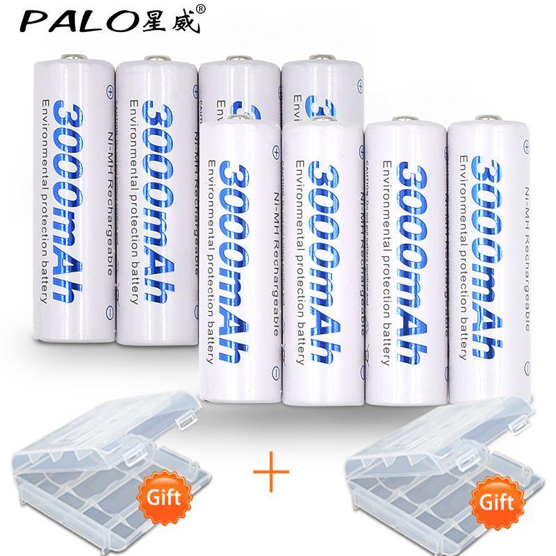 8pcs/2card PALO AA Rechargeable <font><b>Battery</b></font> AA NiMH 1.2V 3000mAh Ni-MH 2A Pre-charged Bateria Rechargeable <font><b>Batteries</b></font> for Camera