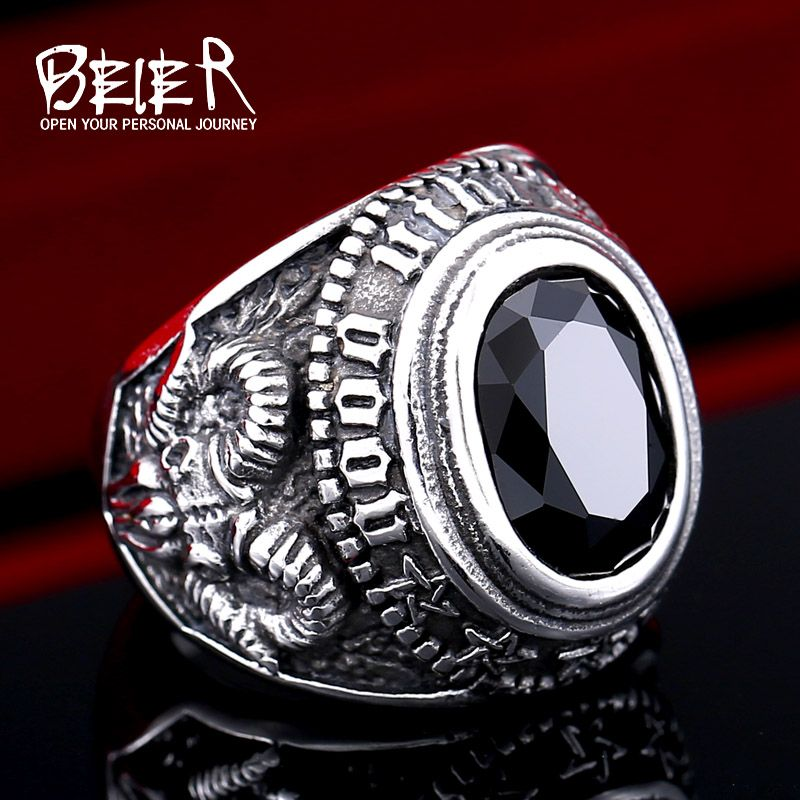 BEIER Stainless steel Cool Unique Black Stone Ring Titanium Steel Retro Old Totem Jewelry For Man Factory Price Sale BR8-334