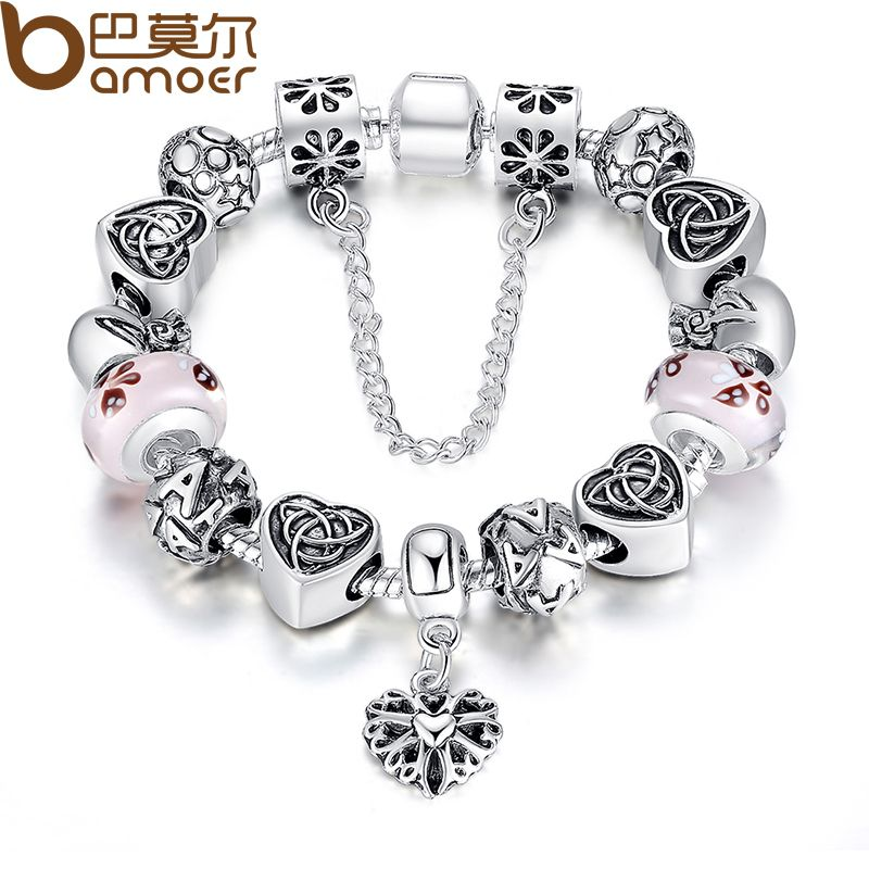 BAMOER TOP Sell European Charm Bracelet For Women With Heart Letter Beads Pink Murao Glass Beads 3 Colors PA1825