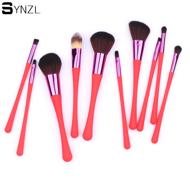 Professionnel rouge 10 pcs pinceau de Maquillage Outils pinceaux de maquillage Cosmétiques Brosses avec haute qualité