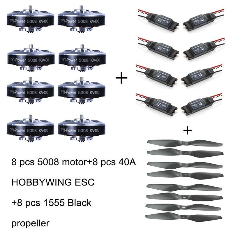 8pcs 5008 400KV Brushless Motor +8pcs 40A ESC +8pcs 1555  Propeller for RC Plane