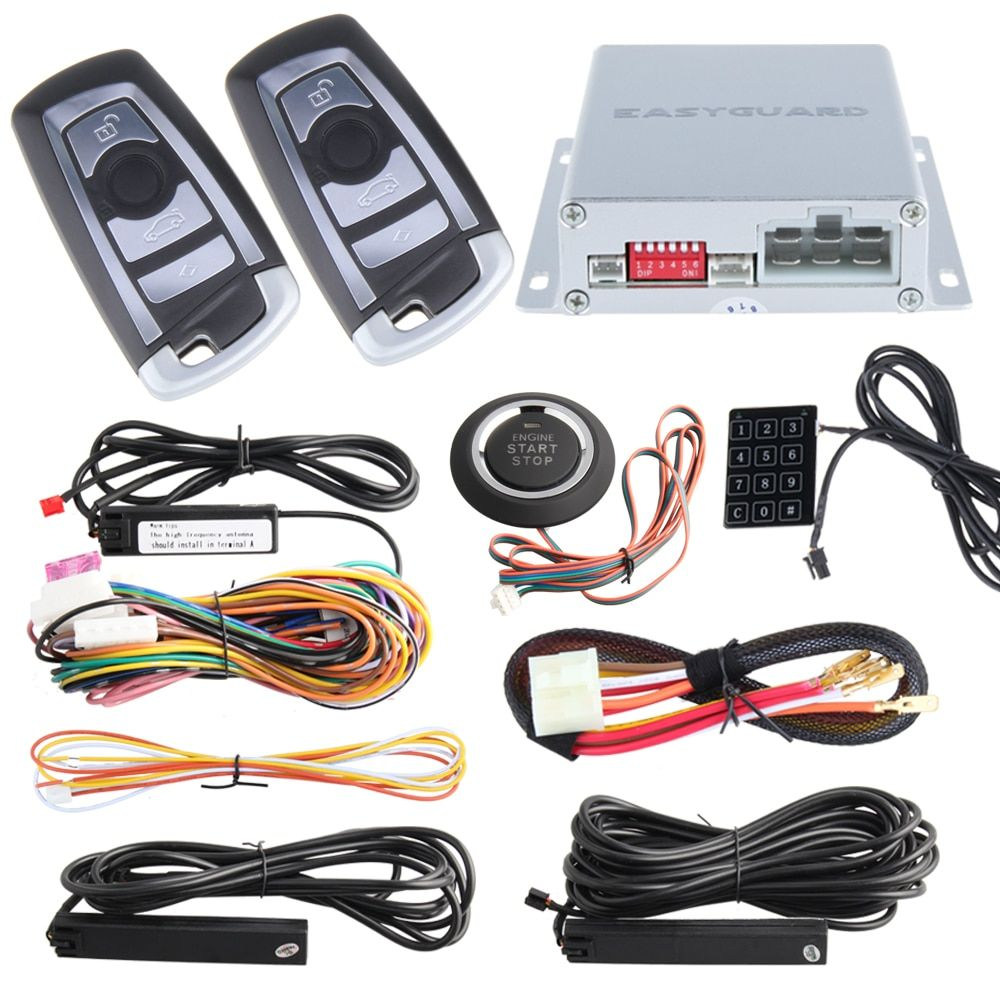 PKE car alarm system kit with remote auto engine start/ stop, passive keyless entry, Touch password entry and code learning