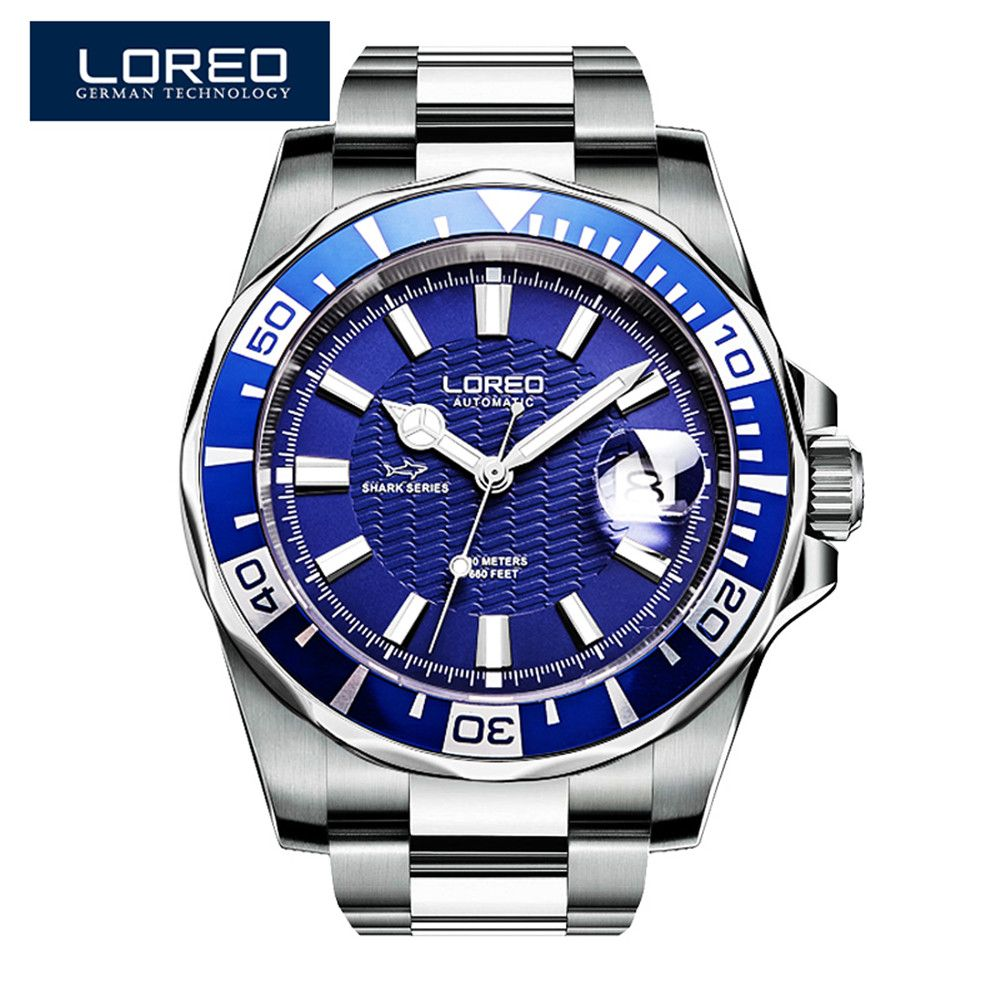 2017 New Design LOREO Watches Steel Brand Automatic Mechanical Watch Men Diver Watches 200M Waterproof Auto Date Luminous Watch