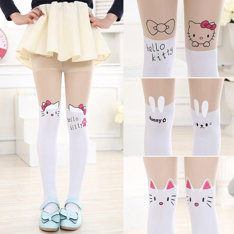 Cute Cartoon Designs Girls Tights Lovely Hello Kitty Velvet Stockings for Girls Cartoon Patchwork Dancing Kids Tight