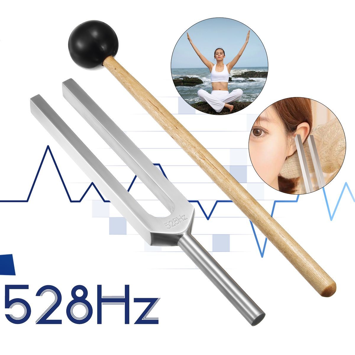 Diagnostic médical en aluminium 528HZ de boule de marteau de Chakra de diapason avec le système nerveux réglé de maillet