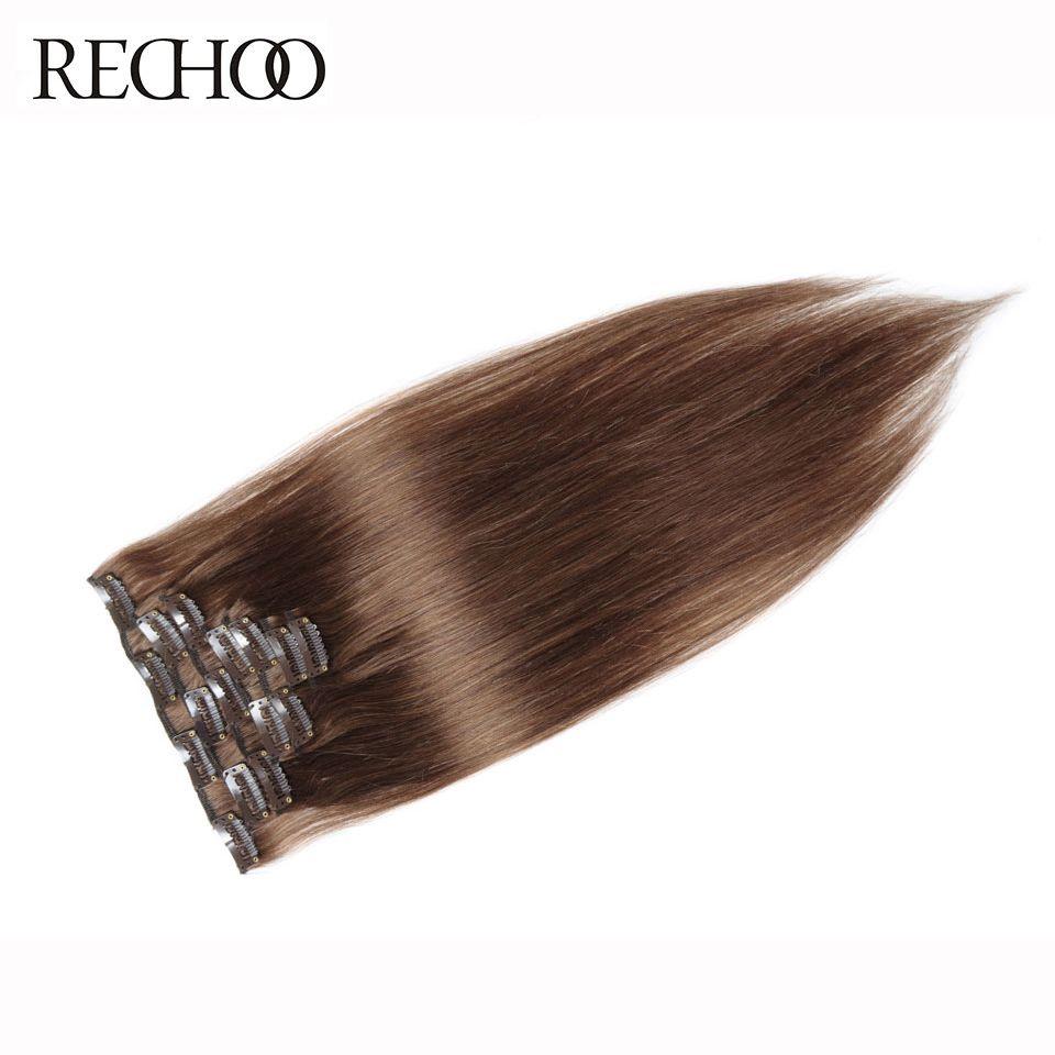Rechoo #8 Light Brown Brazilian Machine Made Remy Straight Clips In <font><b>Human</b></font> Hair Clip In Extensions 7Pcs/Set 90 Gram Full Head Set