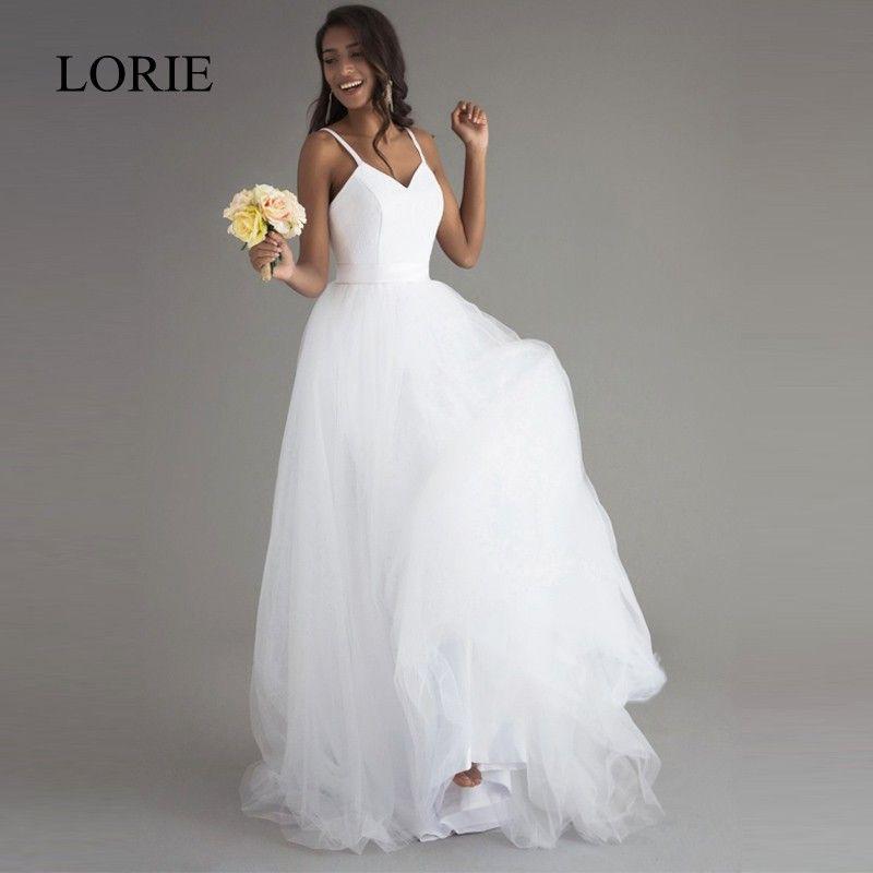 Spaghetti bretelles Robe de mariée plage 2018 Vintage dentelle Top Sexy ivoire robes de mariée chine sur mesure Robe de mariee