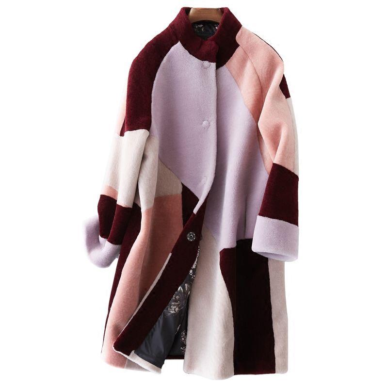 Echtpelz Mantel Herbst Winter Mantel Frauen Kleidung 2018 Wolle Jacke Koreanische Elegante Casual Slim Fit Lange Mantel Casaco Feminino ZT693