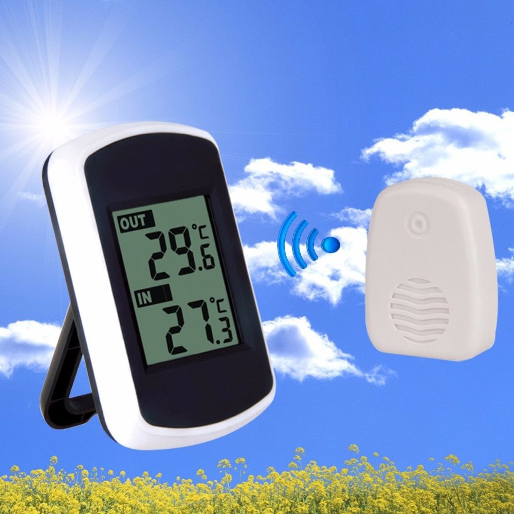hot-sale 433MHz LCD Digital Wireless Ambient <font><b>Weather</b></font> Station Wireless Transmission Range 120 feet Indoor Outdoor Thermometer