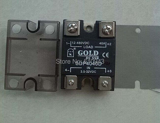 SDP4040D 40A SSR,Load voltage:12-480VDC,Control votlage: 3.5-32VDC single phase ssr solid state relay Free Shipping