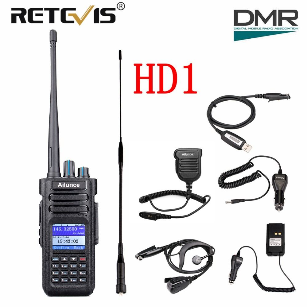 Retevis Ailunce HD1 Dual Band DMR Digitale Walkie Talkie (GPS) 10 watt IP67 VHF UHF Ham Amateur Radio Station Transceiver + Zubehör