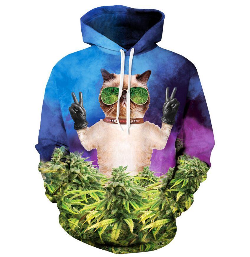 Harajuku style corail hipster chat À Capuche femmes/hommes imprimé hoodies Mauvaises Herbes Feuille Shirts 3d À manches Longues chemises Livraison gratuite
