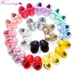 2018 nuevo 22 colores borlas Baby Moccasin recién nacido bebés zapatos Soft bottom pu cuero prewalkers botas