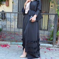 Musulman Pleine Fleur Robes Abaya Cardigan Kimono Longue Robe Robes Tunique Jubah Moyen-Orient Ramadan Arabe Islamique Prière Vêtements