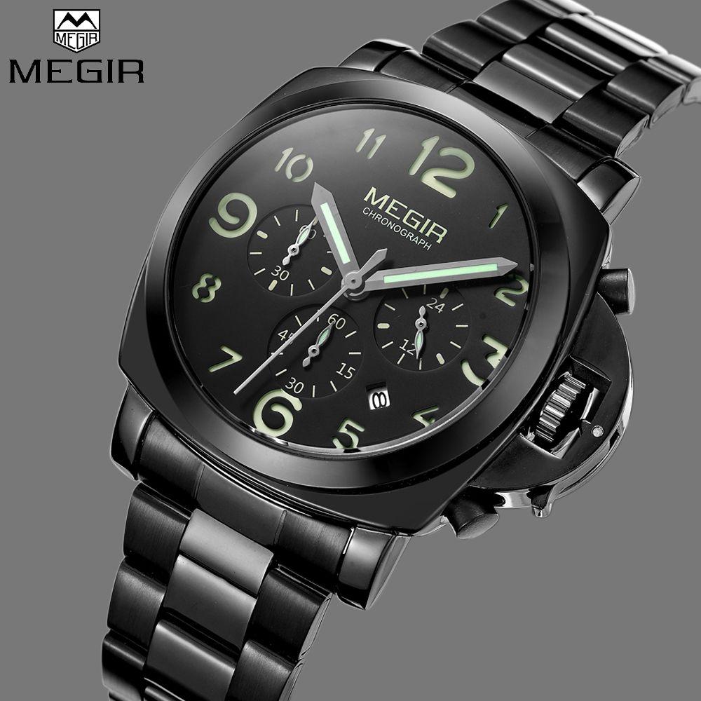 Black Steel Watch Casual Punk Watches Man Megir Luxury Brand Sports Luminous Quartz Military Wrist Watch Men relogio masculino