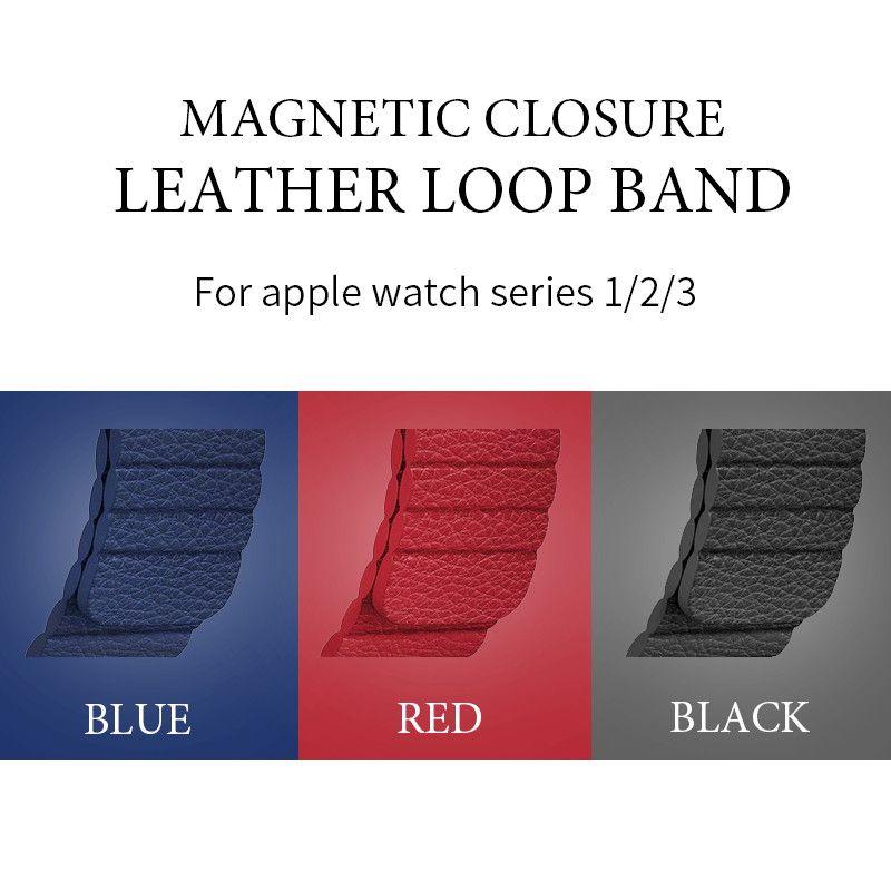 Для Apple Watch Популярные Магнитная Синтетическое закрытие волос кожаный петля ремешок 38 мм 42 мм для Apple Watch Series 3 серии 2 серии 1