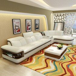 (2 kursi 1 arm + ruang) berikat kulit modern sofa coner dengan l bentuk # CE-K04
