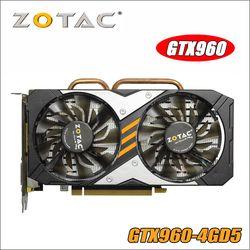 Asli ZOTAC Video Kartu GPU GTX960 4GD5 128Bit GDDR5 GM206 PCI-E Kartu Grafis NVIDIA GeForce GTX 960 4 GB 1050 Ti 1050TI