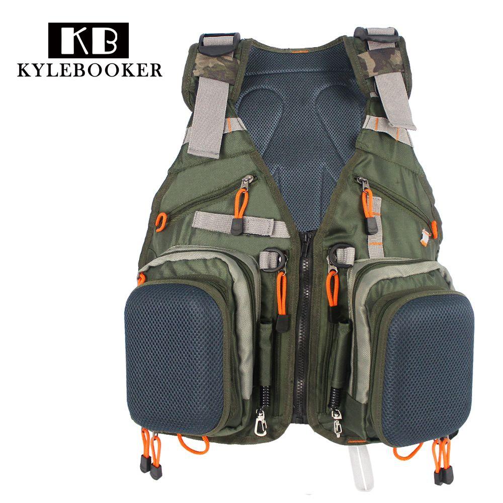 Armee-grün Verstellbare Fliegenfischer Weste Pack Multifunktionstaschen Outdoor-sportarten Angeln Weste Rucksack Fischzubehör
