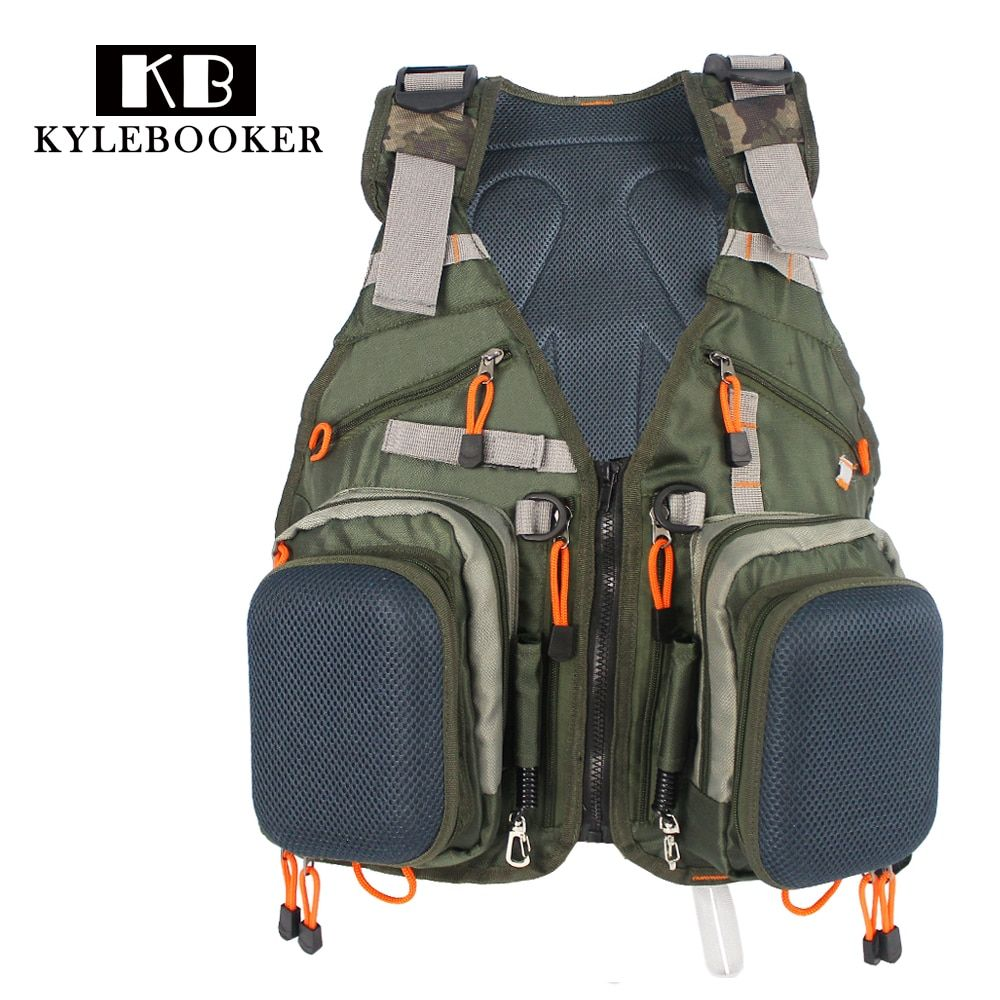 Army Green Adjustable Fly Fishing Vest <font><b>Pack</b></font> Multifunction Pockets Outdoor Sports Fishing Vest Backpack Fish Accessory