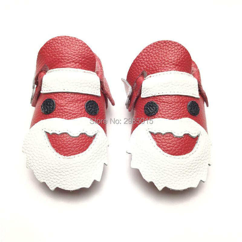 100% Hecho A Mano de la Navidad de Papá Noel zapatos mocasín de cuero de vaca de bebé infant toddler Primer Caminante Zapatos