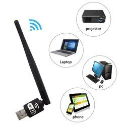 Elisona Wireless Lan 150 Mbps 2DB antena WiFi USB receptor tarjeta de red del adaptador para XP Vista Windows 7 Linux MAC OS PC