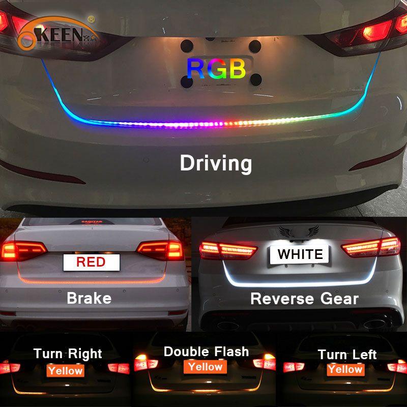 Bande de coffre de LED coulante colorée d'okeen 47.6 inch rvb pour les clignotants dynamiques de coffre de voiture LED les feux arrière de lumière de tour feux de circulation diurne LED