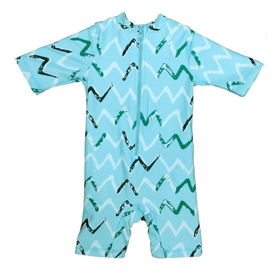 Bonverano (TM) Baby Jungen Sunsuit Bademode UPF 50 + Uv-schutz S/S Reißverschluss Streifen Sky Blue ein Stück Rashguard Badeanzug